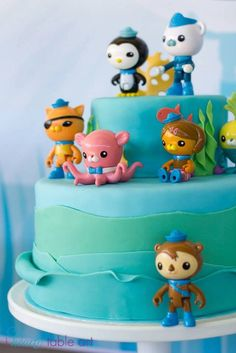 Octonauts themed birthday party - love the wave detail on the cake! Fourth Birthday, 4th Birthday Parties, Birthday Celebration, Birthday Ideas, Baby Birthday, Birthday Cakes, Octonauts Party, Creative Cake Decorating, Cupcakes