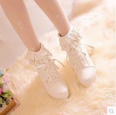 Material: PU  Color: White, Beige, Pink  Size : 34 35 36 37 38 39  Waterproof 3 cm  Heel 10 cm