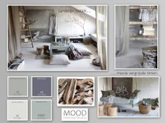 Beautiful moodboard by Mood Interiors. Basic color, but what a atmosphere. Mood Colors, Colours, Mood Board Interior, Lime Paint, Bedroom Pictures, Vintage Room, Grey And Beige, Apartment Furniture, Colour Board