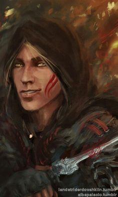 He looks weird with brown hair- HEY! It is a hood... Zevran Arainai the crow, Dragon age origins