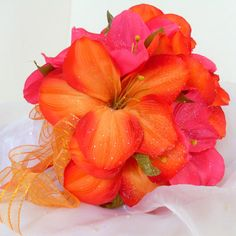 Tropical Silk Flower Bouquet with Amaryllis by angel9 on Etsy, $66.00