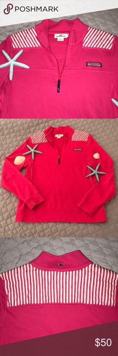 Vineyard Vines Shep Shirt EUC — VV 1/4 zip shep shirt with stripes on and across the shoulders. Perfect for those cooler summer days out on the beach or boat! ⛵️☀️ Vineyard Vines Tops Sweatshirts & Hoodies