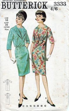 60s Butterick sewing pattern 3333, one-piece dress pattern. Bust 36 inches…