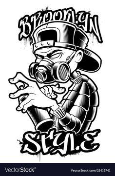 Illustration about Graffiti artist illustration, Black and white design for shirts, stickers and many others. Illustration of character, artist, aerosol - 122127570 Graffiti Tattoo, Graffiti Drawing, Graffiti Lettering, Graffiti Wallpaper, Graffiti Murals, Street Art Graffiti, Graffiti Designs, Graffiti Cartoons, Graffiti Characters