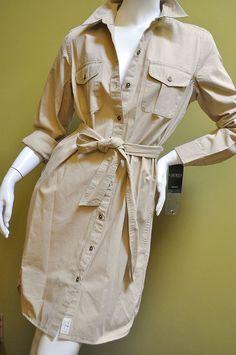 Ralph Lauren Womens Military Safari Beige TanTwill Dress Shirt Size M Nwt #RalphLauren #ShirtDress #Casual