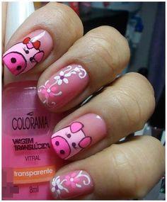 pig nail art - 15 Pretty and Cute Pig Nails for Girls Pretty Nail Colors, Pretty Nail Designs, Pretty Nails, Pig Nail Art, Pig Nails, Animal Nail Designs, Nail Art Designs, Nails 2015, Snowflake Nail Art