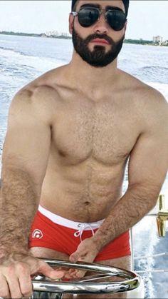 Beard Look, Beard Styles For Men, Awesome Beards, Boater, Bearded Men, Underwear, Mens Fashion, Sexy, Fitness