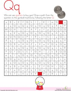 Kindergarten Mazes The Alphabet Worksheets: Letter Maze: Q Reading Worksheets, Alphabet Worksheets, Kids Worksheets, Pre Writing, Writing Lessons, Letter Maze, Maze Worksheet, Abc Activities, German Language Learning