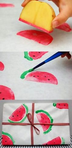 DIY watermelon print wrapping paper using a potato wedge. Would also be a great craft for the littles! DIY watermelon print wrapping paper using a potato wedge. Would also be a great craft for the littles! Kids Crafts, Diy And Crafts, Craft Projects, Arts And Crafts, Project Ideas, Craft Ideas, Kids Diy, Craft Kits, Project Life