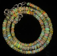 "47 TCW 1 Strands 3.5 to 5 mm 17"" Beads necklace Ethiopian Welo Fire Opal  93048"