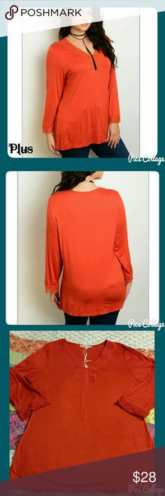 """Rust Plus Sz Tunic Vibrant, rust, plus size, v-neck tunic with detailing at sleeve cuffs and neckline. Rayon, spandex, cold water wash. Please note measurements before purchasing!   Approx Flat Measurements: 1X: B-21, W-19, L-28"""" 2X: B-23, W-21, L-29"""" 3X: B-25, W-23, L-30"""" Jewely's Justifiables Tops Tunics"""