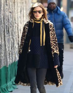Alexa Chung Patterned Scarf - Alexa Chung kept warm with a yellow and black striped scarf paired with a leopard-print fur coat while out in New York City.
