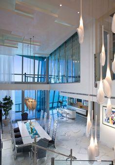 Sumptuous Jade Ocean Penthouse in Sunny Isles Beach, Florida by Pfuner Design Luxury Interior, Modern Interior, Interior Architecture, Interior Design, Stylish Interior, Modern Decor, Appartement New York, Esstisch Design, Luxury Penthouse
