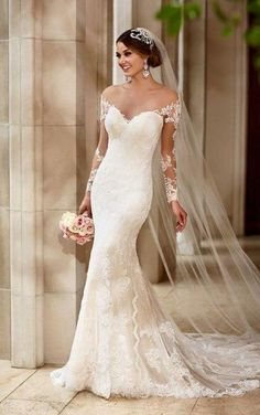 Cheap sleeved wedding, Buy Quality long sleeve wedding directly from China long sleeve wedding dress Suppliers: wejanedress Mermaid Vintage Lace Long Sleeve Wedding Dress 2017 White Ivory Bridal Dress vestido de noiva sereia com manga Gorgeous Wedding Dress, Dream Wedding Dresses, Bridal Dresses, Beautiful Dresses, Wedding Gowns, Tulle Wedding, Sleeved Wedding Dresses, Spring Wedding, Boho Wedding