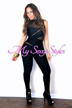 Sexy Sleeveless Party Bodysuit W  Mesh Insets in Black Romper Dress 287e5c24d