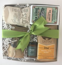 North Carolina Breakfast Box  Curated Breakfast Gift Box featuring  North Carolina made products, including biscuit mix, Cloister honey, Joe van Gogh coffee beans, Huntington Provision Co. granola and Bo's Addiction white cheddar cheese grits.
