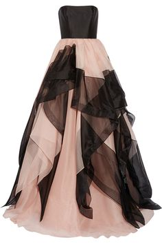 Black silk-faille, antique-rose and black tulle Concealed hook and zip fastening at back 100% silk Dry clean