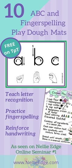 10 FREE ABC Fingerspelling and Play Dough Mats available on TpT. Includes playdough recipe and description of how to create a play dough literacy center. Play dough is a staple item in many preschools, kindergartens and home kitchens. It is easy to make and—properly stored—keeps for months. Play dough develops small finger muscles for writing and provides a rich social context for language and concept development. Use abc fingerspelling mats for word work.
