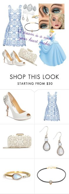 """Cinderella"" by aquawolfgrl ❤ liked on Polyvore featuring Badgley Mischka, Oscar de la Renta, YS Gems, La Kaiser, Jacquie Aiche and Marchesa"