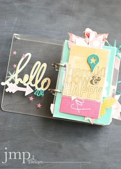 This is a mini album but I want to see if I can make some embellishments similar to this. Mini album by jmpgirl ***Love the way to use pocket protectors for photos in fab way. Mini Albums, Mini Scrapbook Albums, Scrapbook Paper Crafts, Scrapbook Pages, Project Life Cards, Project Life Scrapbook, Desktop Calendar, Heidi Swapp, Smash Book