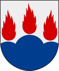Coat of arms of the county and province of Västmanland, Sweden. Sweden Flag, Medieval Shields, Shield Design, Crests, Coat Of Arms, Rooster, Symbols, Fantasy, Writing Prompts