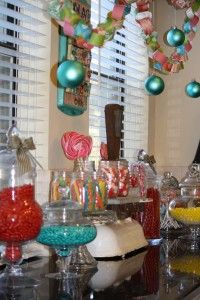 paper chain with ornaments, candy buffet