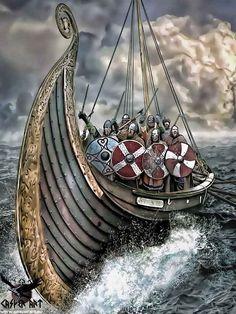 Vikings on a Longship by thecasperart