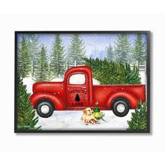"""Stupell Industries 16 in. x 20 in. """"Holiday Christmas Tree Lane Red Pickup Truck with Dog and Lantern"""" by Artist Sheri Hart Framed Wall Art, Multi-Colored Christmas Pictures, Christmas Holidays, Christmas Crafts, Christmas Scenes, Christmas Ornament, Christmas Truck With Tree, Christmas Decorations, Xmas Trees, Christmas Door"""