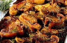 This recipe enables you to cook the meat and the potato together at the same time. I like to use an oval heatproof gratin dish for it – but a very small roasting tin would do as well. Our recipe picture does have more than two chops, but is the same method.