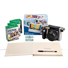 Fuji Fujifilm Instax 300 Wedding Pack with Instant Camera, 60 Shots, Photo Mounts, Wedding Guest Book & Pen