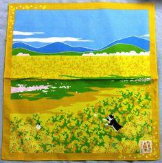 Japanese Wrapping Cloth Small Furoshiki 50x50cm Walkies Cat Field-mustard Kyoto