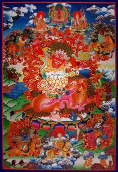 Thangka Vajrapani . A fantastic Thangka of the Red Vajrapani (Chagna Dorje) / Thangka des Roten Vajrapani. Buddhistische Thangkas, Statuen und Mandalas. Marvelous buddhist Statues, Mandala and Thangka from Snow Lion http://www.thangkas.com/thankas/Vajrapani-BP15.php