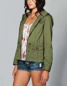 ASHLEY Studded Womens Anorak Jacket Anorak Jacket, Hooded Jacket, Fall Outfits, Cute Outfits, Cuff Sleeves, Military Jacket, Hair Makeup, Ootd, My Style