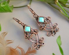 Turquoise and Copper Boho Gemstone Earrings. Genuine Turquoise Wire Wrapped Earrings. Indie Boho Jewery. Gypsy Gemstone Earrings. Gift Idea