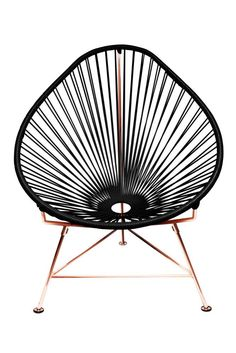 The Acapulco Chair - contemporary lounge or occasional chair suitable for indoors. Composed of a tripod metal base and seat woven with vinyl cord. The Acapulco chair is similar in construction and form to our Innit c. Patio Chairs, Side Chairs, Outdoor Chairs, Lounge Chairs, Indoor Outdoor, Adirondack Chairs, Outdoor Living, Outdoor Shop, Rocking Chairs