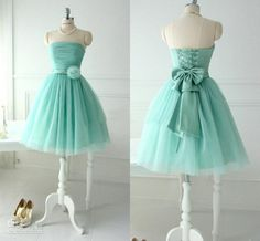 Mint Tulle Bridesmaid Dresses For Teens Young Girls 2014 Chic Flower Bow Sash Lace up Strapless Bridal Party Beach Wear Gowns $79.00