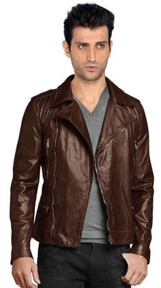 Biker Leather Jackets With Multiple Tilted