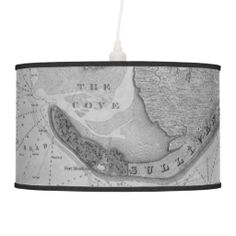 Hanging Lamp featuring Edgar Allan Poe's Sullivan's Island at the mouth of Charleston Harbor, South Carolina, as he would have known it in 1827.  This finely-detailed map has been taken from a precise survey completed by American topographical engineers in 1825, two years before Poe arrived at Fort Moultrie as a new recruit. The homes and landscape are exactly drawn in, where the young writer roamed an drew inspiration for future novels. site stats