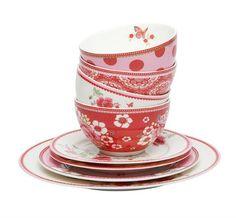 Tolles romantisches Geschirr bei htx24. 6x Room Seven Tasse Poppy weiss für 44,95 EUR