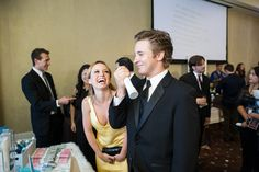 Michael Welch and Taryn Southern laughing and breathing it up with a little revitalizing Oxygen Plus!