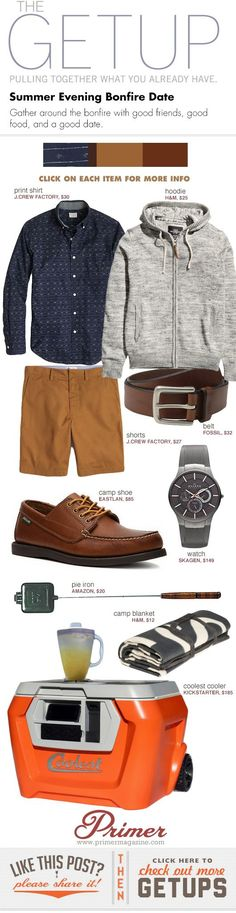 The Getup: Summer Evening Bonfire Date - Primer Casual. Summer Camping Outfits, Summer Outfits, Sharp Dressed Man, Well Dressed, Look Fashion, Mens Fashion, Fashion Outfits, Looks Style, My Style