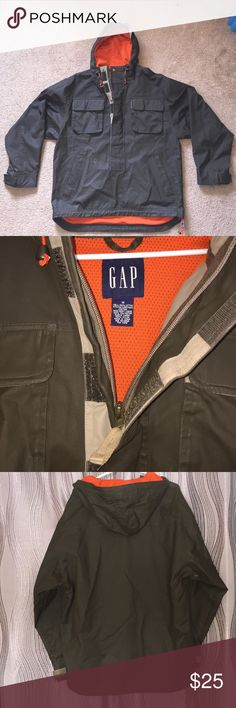 GAP Jacket Barely worn, lined with orange mesh, and hooded. Green brownish neutral color. Lots of pockets and very warm! Size medium GAP Jackets & Coats