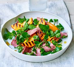 A fruity salad with griddled, caramelised peaches and smoked duck for a light summer lunch Grilled Peach Salad, Grilled Peaches, Duck Recipes, Salad Recipes, Good Healthy Recipes, Great Recipes, Healthy Food, Rainbow Salad, Salads