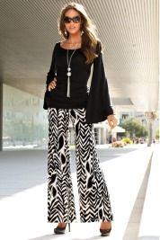 Printed wide leg pant and Kimono-sleeve top