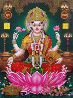 Lakshmi is the Hindu god of wealth, fortune & prosperity and also the wife of Lord Vishnu. Here is a collection of Goddess Lakshmi Images & HD wallpapers. Lakshmi Photos, Lakshmi Images, Hanuman Images, Indian Goddess, Goddess Lakshmi, Goddess Art, Devi Images Hd, Hd Images, Art Paintings