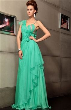 Beading A-Line Short Sleeve Floor-Length Prom Dress