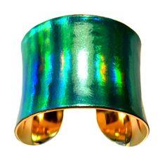 Bracelet cuir vert irisé UNEARTHED