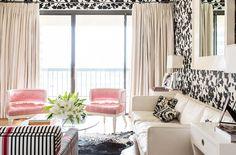 black white pink living room contemporary feminine wallpaper