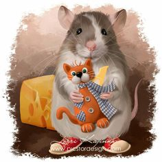 Cat Mouse, Hamsters, Animals And Pets, Kitty, Illustration, Collection, Drawings, Adorable Animals, Illustrations
