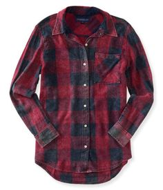 Long Sleeve Boyfriend Plaid Woven Shirt